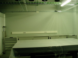 Optical table and closets in the lab